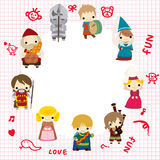 Cartoon Medieval people card Royalty Free Stock Photo