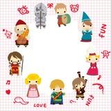 Cartoon Medieval people card Royalty Free Stock Photo