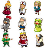 Cartoon medieval people icon. Drawing Royalty Free Stock Photos