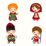 Cartoon Medieval people icon. Set. Children in costumes. Middle Ages Stock Photos