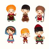 Cartoon Medieval people icon. Set Stock Photos