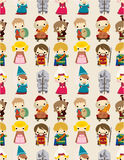 Cartoon Medieval people seamless pattern. Drawing Stock Photo