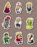 Cartoon medieval people stickers vector illustration