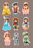 Cartoon medieval people stickers. Cute cartoon vector illusttration Stock Photography