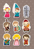 Cartoon Medieval people stickers Royalty Free Stock Photography
