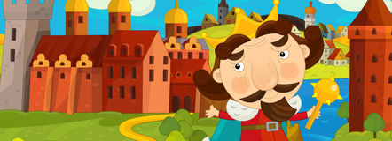 Cartoon medieval scene with king in front of his castle - image for different fairy tales Royalty Free Stock Photography
