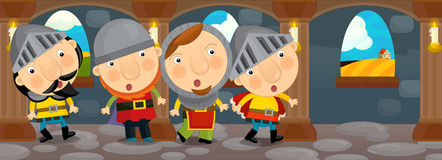 Cartoon medieval scene - knights gathering in the castle Royalty Free Stock Photos
