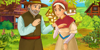 Cartoon medieval scene - loving couple Stock Images