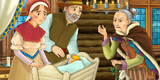 Cartoon medieval scene of married couple with small child in the cradle Royalty Free Stock Photography