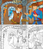 Cartoon medieval scene with prince and his servant or friend - with additional coloring page. Colorful and beautiful illustration for the children Royalty Free Stock Image