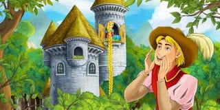 Cartoon medieval scene of a prince and princess Stock Photo