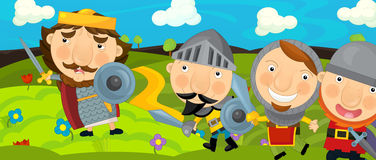 Cartoon medieval scene - with the three knights and king Royalty Free Stock Images