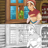 Cartoon medieval scene of a woman in the kitchen - with coloring page Stock Images