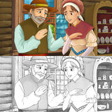 Cartoon medieval scene of a woman and a man in the kitchen - with coloring page Stock Images