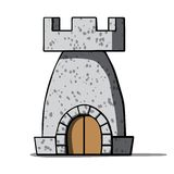 Cartoon medieval tower. Vector illustration Stock Photos