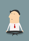 Cartoon meditating businessman character in flat Royalty Free Stock Images