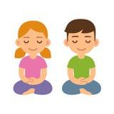 Cartoon meditating children. Boy and girl. Cute meditation and mindfullness illustration Royalty Free Stock Photography