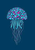 Cartoon medusa. Neon glow jellyfish. Isolated nature illustration Stock Photos