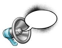 Cartoon Megaphone and Speech Bubble Stock Photography