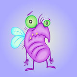 Cartoon melancholy pink fly. vector illustration. Digital drawing poor cute character royalty free illustration