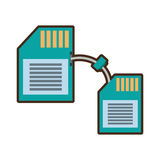 Cartoon memory sd card back transfer icon. Vector illustration eps 10 Royalty Free Stock Images