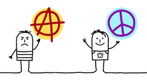 Cartoon Men with Anarchy and Peace Love Signs Royalty Free Stock Image