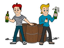 Cartoon men celebrating Royalty Free Stock Images