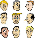 Cartoon men characters heads set. Cartoon Illustration of Men Heads Characters and Emotions or Expressions Royalty Free Stock Images