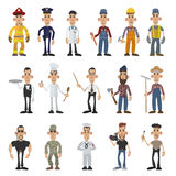 Cartoon men of 16 different professions Royalty Free Stock Images