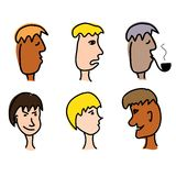 Cartoon men face Royalty Free Stock Photography