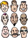 Cartoon men faces Royalty Free Stock Photo