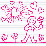 Cartoon of men with flower and hearts Royalty Free Stock Photography