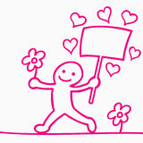 Cartoon of men with flower and hearts Royalty Free Stock Photos