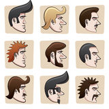 Cartoon men heads. Set of nine funny man heads from side view. All hair, eyes, mustaches, skin surfaces etc., are in separate layers easy editable Stock Image