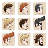 Cartoon men heads. Set of nine funny man heads from side view. All hair, eyes, mustaches, skin surfaces etc., are in separate layers easy editable Stock Photo