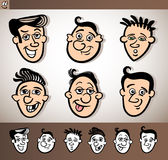 Cartoon men heads set illustration Stock Photography