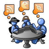 Cartoon men at internet cafe. Cartoon of blue men seated at table of internet cafe, surfing web and thinking Royalty Free Stock Images