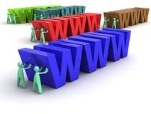 Cartoon Men pushing the WWW. A group of cartoon men pushing huge colorful WWW 3D letterings Stock Image