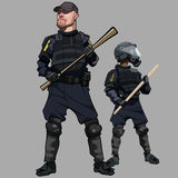 Cartoon men in special clothes police officers in bulletproof vests. Cartoon men in special clothes uniform police officers in bulletproof vests Stock Images