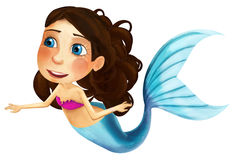 Cartoon mermaid with coloring page - image for different fairy tales Royalty Free Stock Image