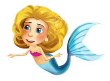 Cartoon mermaid with coloring page - image for different fairy tales Stock Image