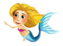 Cartoon mermaid with coloring page - image for different fairy tales Royalty Free Stock Photography