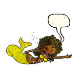 Cartoon mermaid covered in tattoos with speech bubble Stock Image