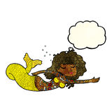 Cartoon mermaid covered in tattoos with thought bubble Royalty Free Stock Photos