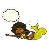 Cartoon mermaid covered in tattoos with thought bubble Stock Photography