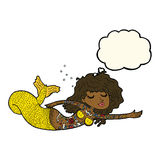 Cartoon mermaid covered in tattoos with thought bubble Royalty Free Stock Images