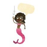 Cartoon mermaid and fish hook with speech bubble Royalty Free Stock Photos