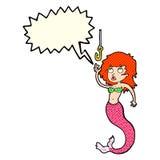 cartoon mermaid and fish hook with speech bubble Stock Image