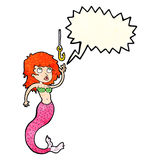 Cartoon mermaid and fish hook with speech bubble Royalty Free Stock Photography