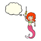 Cartoon mermaid and fish hook with thought bubble Royalty Free Stock Photography